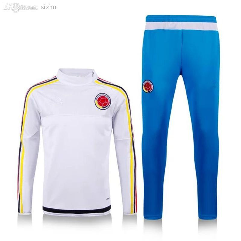 2020 Top Thai Quality 2016 Survetement Colombia White Soccer TrackSuit Training Suits 15 Chandal Football Training Suits Jacket Pants From Faycai02,