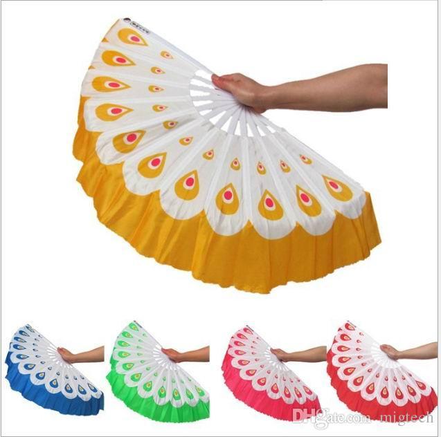 10pcs / lot geben Verschiffen-neuen Ankunfts-Pfaufächern chinesischen Farben des Tanzfans 5 frei, die für Hochzeitsfestbevorzugungsgeschenk vorhanden sind