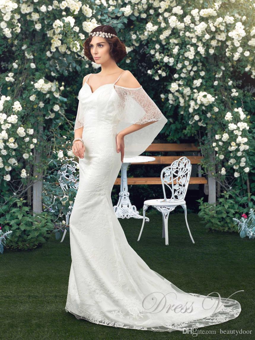 Großhandel Vintage Mutterschaft Lace Mermaid Brautkleider mit Wrap ...