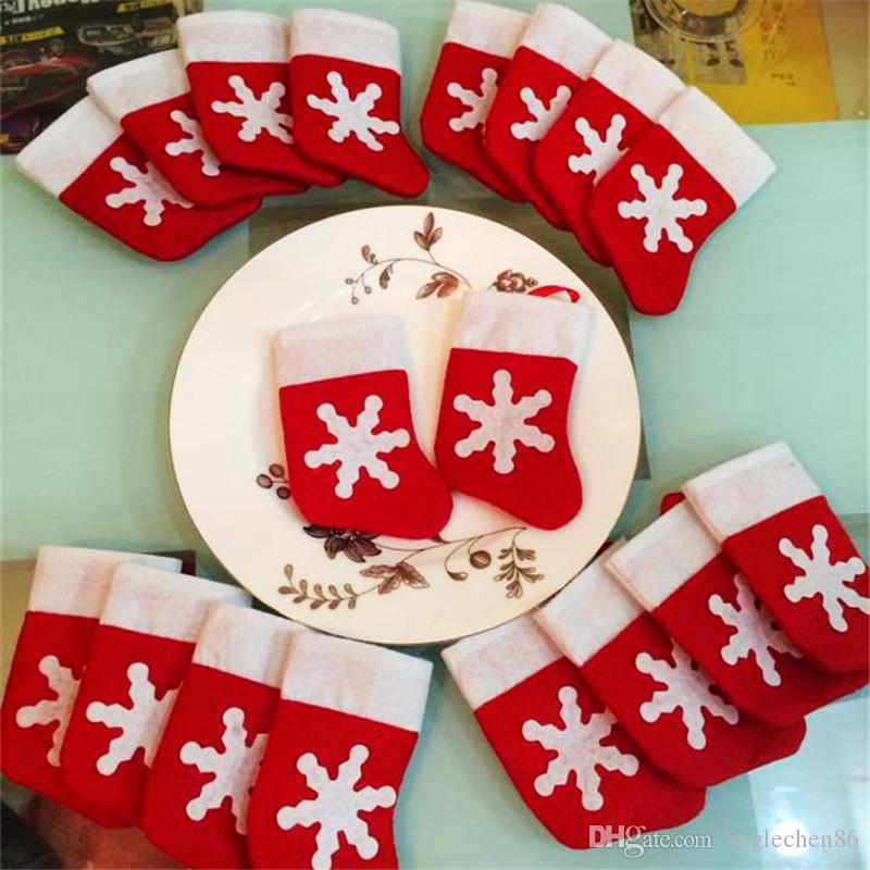 Xmas Red Mini Sock Shape Fork Knife Package Storage Tableware Cutlery Sets Covers Bag Christmas Festival Party Decorations