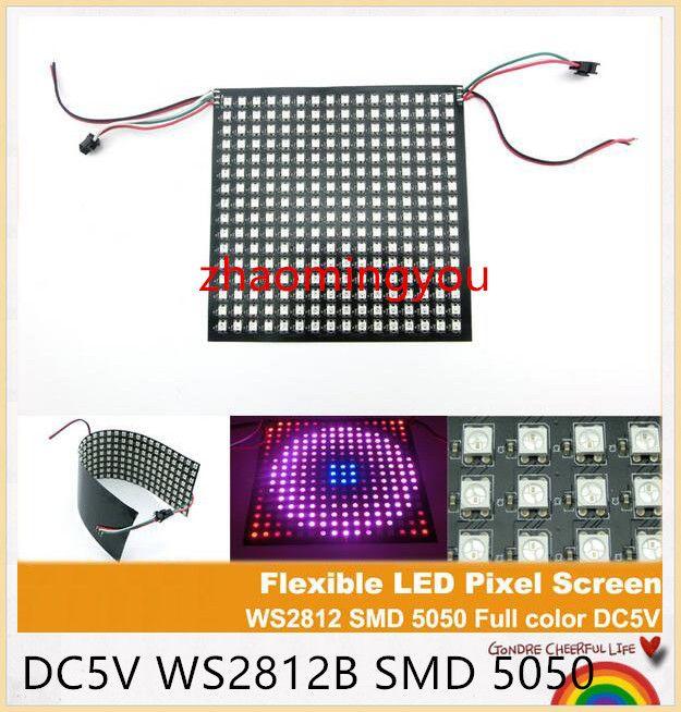 8x8,16x16,32x8 Pantalla LED RGB de pantalla de píxeles flexible, DC5V WS2812B SMD 5050 Pantalla de visualización de publicidad de LED de interior a todo color