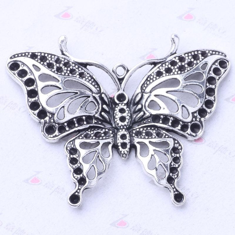 Pingente de borboleta retro antigo de Prata / bronze Encantos Fit Pulseiras ou Colar de Jóias DIY 25 pçs / lote 3086z