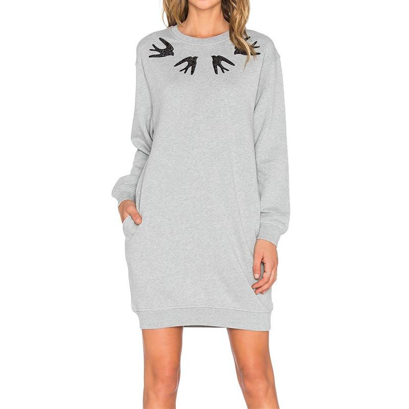 Autumn Clothing Ladies Round Neck Long Sleeve Easy Rendering Printing Dress Bodycon Summer Dresses Woman For Womens