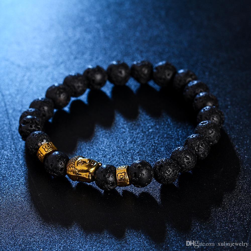 Charm Mens Bracelets Natural Dark Stone Fashion Handmade Beaded Bracelet New Desigh Jewelry for Sale as Gift