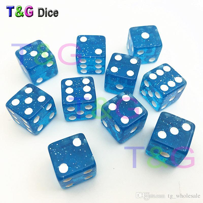 10 pçs / set TG dados de Alta Qualidade 12mm Azul Glitter Dice Dados dyd