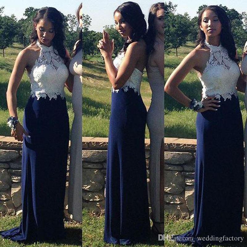 فساتين التخرج مذهلة الملكي الأزرق طويل الرسن الرقبة أكمام الرباط الأعلى رخيصة عالية الجودة الحفلة الراقصة الرسمية اللباس العودة للوطن
