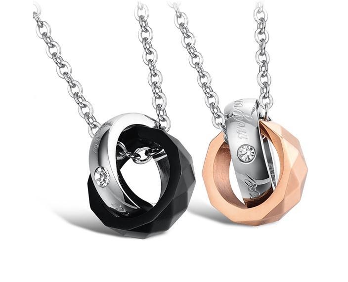 Korea Lovers Stainless Steel Necklace Double-color Double-loop Circle RingTitanium Stainless Steel Link Chain IP Rose Gold Plating hot 2016