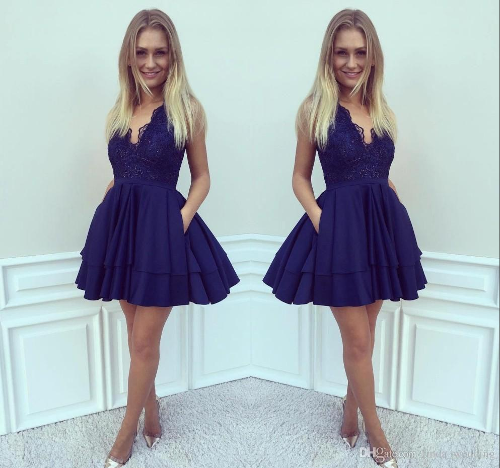 2019 Cheap Royal Blue Lace Homecoming Dress A-line Juniors Sweet 15 Graduation Cocktail Party Dress Plus Size Custom Made