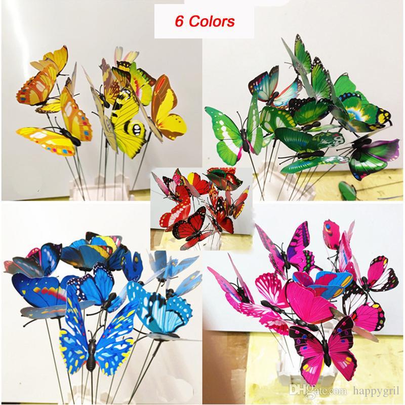 Colorido jardín plástico mariposas en palitos de baile volando mariposa revoloteo DIY arte ornamento florero decoración de jardín de césped