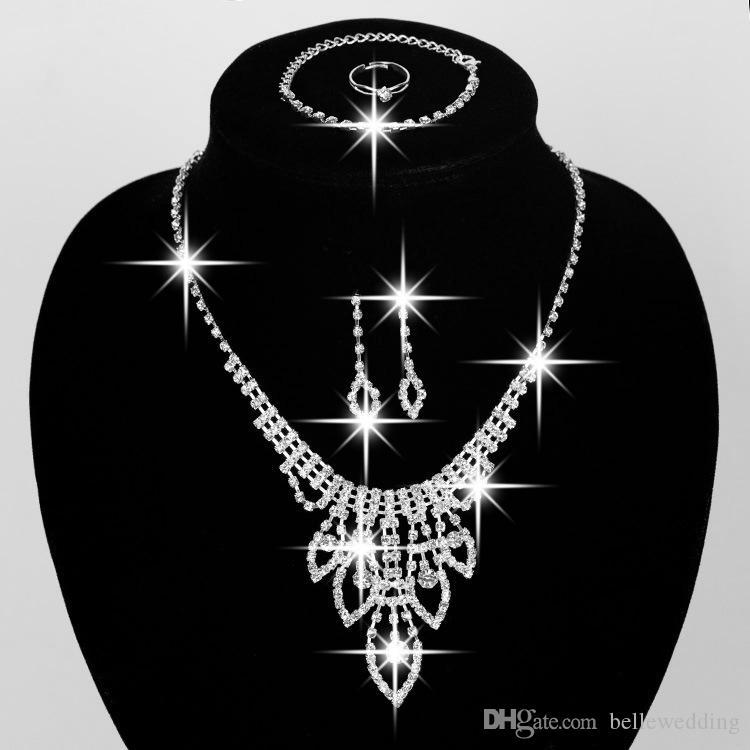 High Quality Bridal Jewelry Set Wedding Accessories Necklace Earrings Bracelet Ring With Rhinestone Bidal Fashion Jewelry Sets #BW-JS008