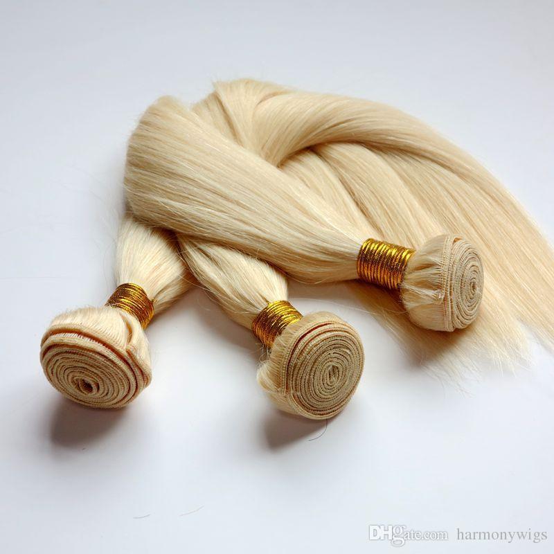 Virgn Человеческих Волос Соткет Бразильские Пучки Необработанные Утки Волос #613/Bleach Блондинка Перуанский Индийский Малайзии Камбоджи Объемных Волос