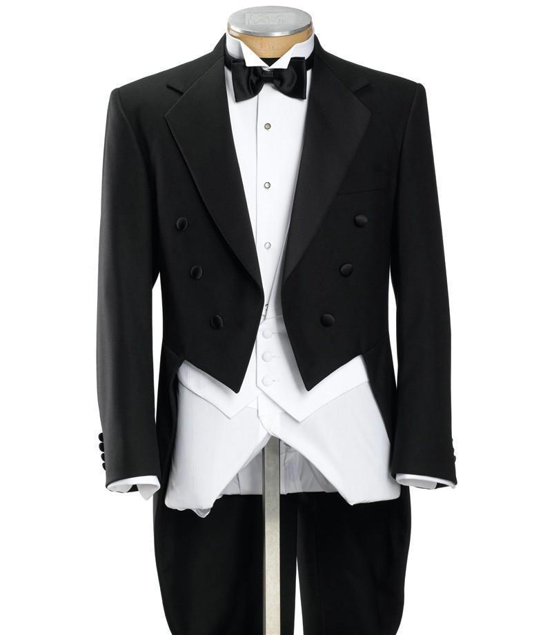 Black Mens Morning Suits Smoking dello sposo doppio petto con il lungo tailcoat del treno Best Man Prestazioni del mago (giacca + pantaloni + gilet + fiocco)