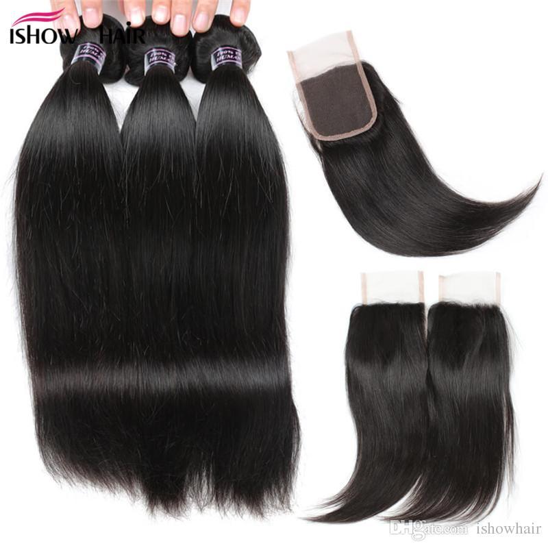 Venta al por mayor de 8A paquetes de pelo recto brasileño con cierre 3pcs extensiones de cabello con 4x4 encaje de cierre tejidos envío gratis