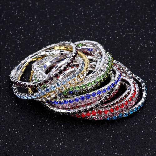 20PCs women's 1 row rhinestone Elasticity alloy beautiful cuff bangles bracelets
