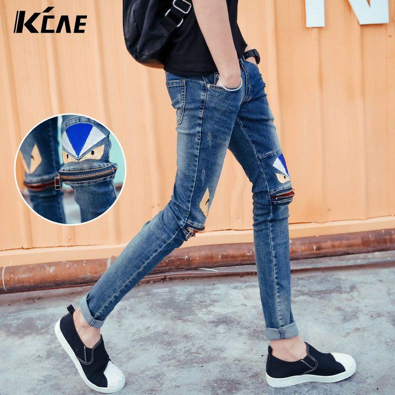 Wholesale-2016 Brand Jeans for Men Fashion Zipper decoration Skinny Fit Jeans For Male,Distressed Fashion Mens Denim Pants Plus Size 28-33