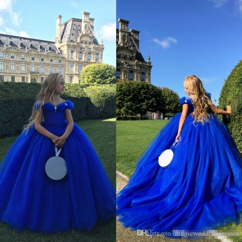 Azul real del hombro Cenicienta Vestidos de niña de flores para bodas Cristales Vestidos de bola para niños Ocasión especial Concurso Vestido de comunión