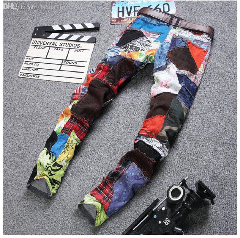 Para ropa de diseñador Jeans Dance Hop Hop Hop Club Colorido Regular Mens Night Wholesale-Moda Patchwork Jeans Fit Men SRBVE