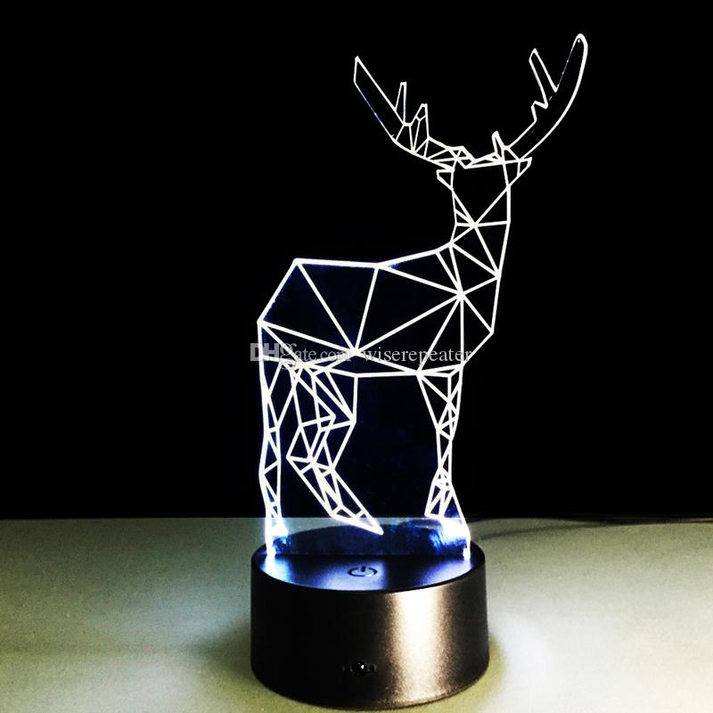 2016 Deer Style 3D Optical Illusion Lamp Night Light DC 5V USB 5th Battery Wholesale Dropshipping Free Shipping Retail Box