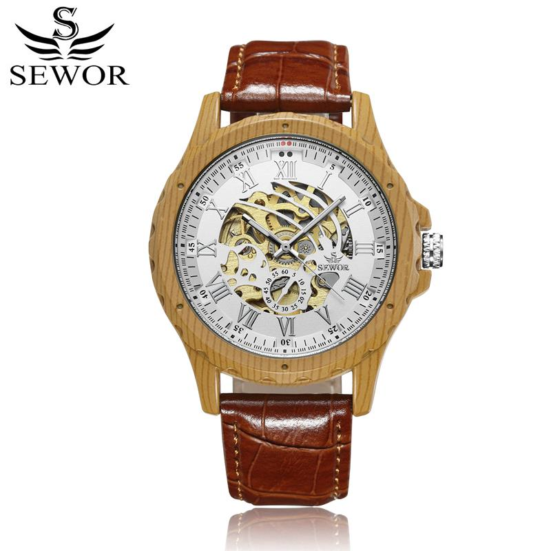 SEWOR Brand Men Automatic Mechanical Watches Fashion Casual Leather Bracelet Self-Wind Clock Watch Skeleton Wristwatches S43