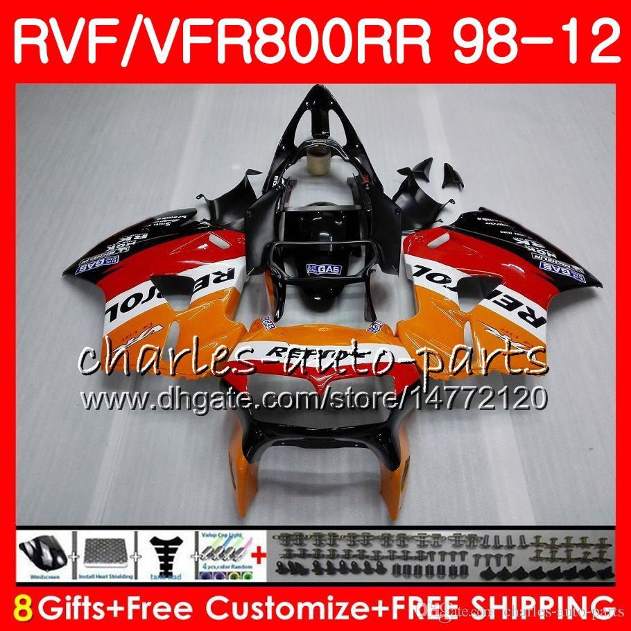 VFR800 pour intercepteur HONDA Repsol noir VFR800RR 98 99 00 01 02 03 04 12 90NO41 VFR 800 RR 1998 1999 2000 2002 2002 2002 2003 2004 2012 2012 Carénage