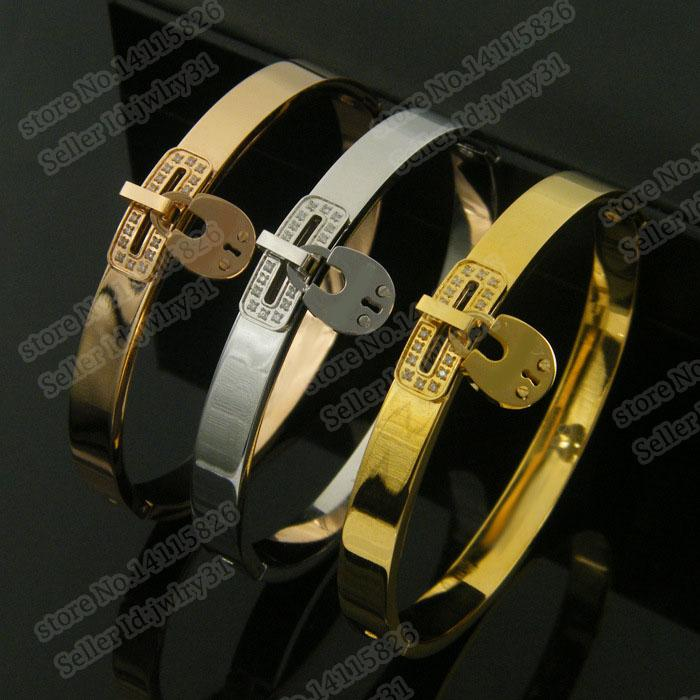Nouvelle Boutique Célèbre Marque Rose Or Argent En Acier Inoxydable Bracelet Bracelet Pour Femme Manchette Bracelet CZ Cristal Bijoux Petite Amie Cadeau
