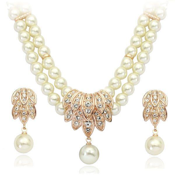 Collana di perle simulate a doppio strato di eleganza con collana di orecchini di perle da donna per le donne alla moda in pietra di cz set di gioielli da sposa