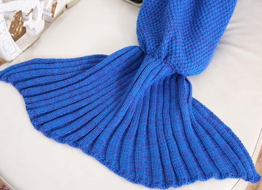 Yarn Knitted Mermaid Tail Blanket Handmade Crochet Mermaid Blanket Kids Throw Bed Wrap Super Soft Sleeping Bed X184 (41)