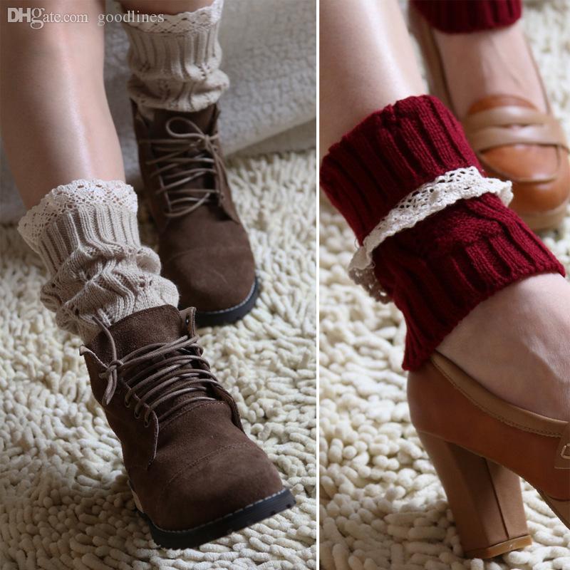 Оптовая продажа-1 пара женщин Вязание крючком вязаные кружева обрезка Ботворезы манжеты лайнера гетры загрузки носки для девочек подарки согреться