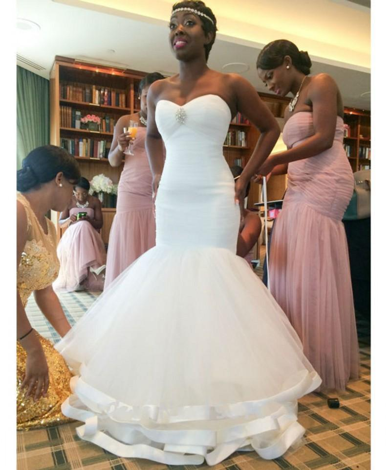 Simple Mermaid Wedding Dresses Cheap 2016 Sweetheart Pleats Tulle African Trumpet Bridal Gowns Plus Size Wedding Gowns With Lace Up Back