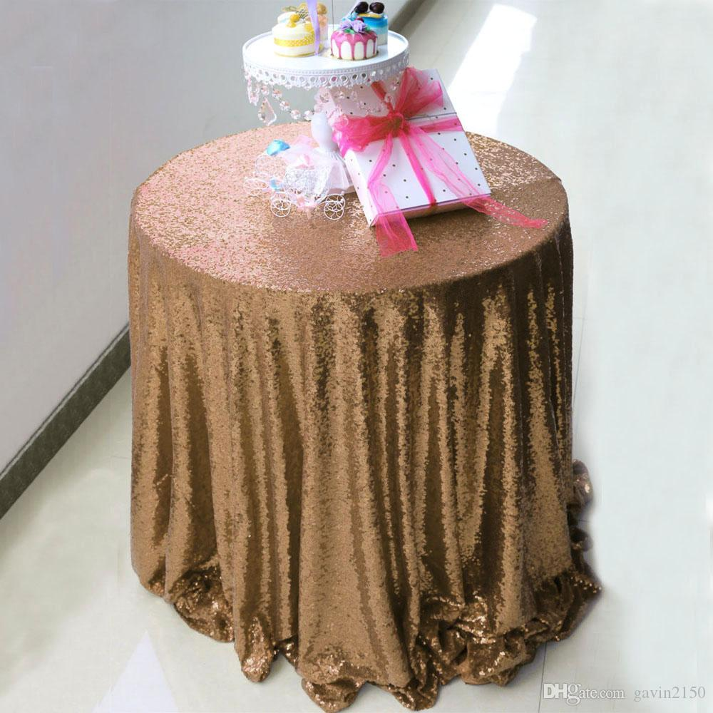 Free Shipping High Quality Round 108inch Champagne Sequin Table Cover Tablecloth For Wedding Banquet Party Decoration