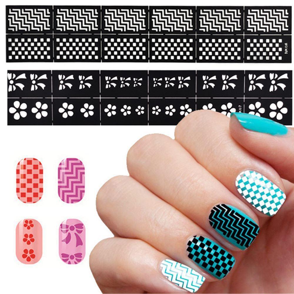 Новое прибытие Nk 25-42 маникюр длинный трафарет лак для ногтей наклейки для ногтей 18 ручная роспись творческий шаблон Бесплатная доставка