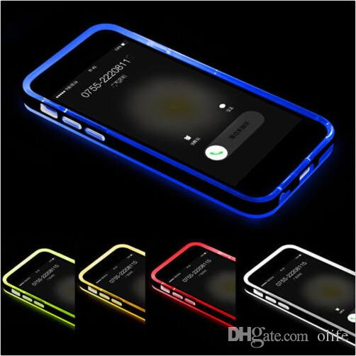 Llamadas entrantes híbridas flash Up Clear TPU PC Luz de la carcasa LED Contraportada para el iphone 6 6S más 5S SE 4S Samsung Galaxy S6 S5 nota 4 3 A5 A7