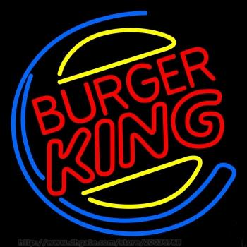 """New Burger King Neon Sign Handcrafted Custom Real Glass Tube Store KTV Club Advertising Display Neon Signs Free Design 17""""X14"""""""