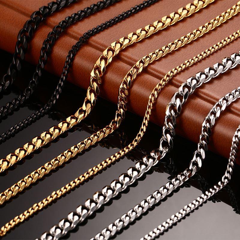 Nuevo collar de cadena para hombre Collar largo de 24/30 pulgadas Collar redondo de 3/5/7 mm para hombre Collares de cadena de eslabones de acero de titanio Hombres