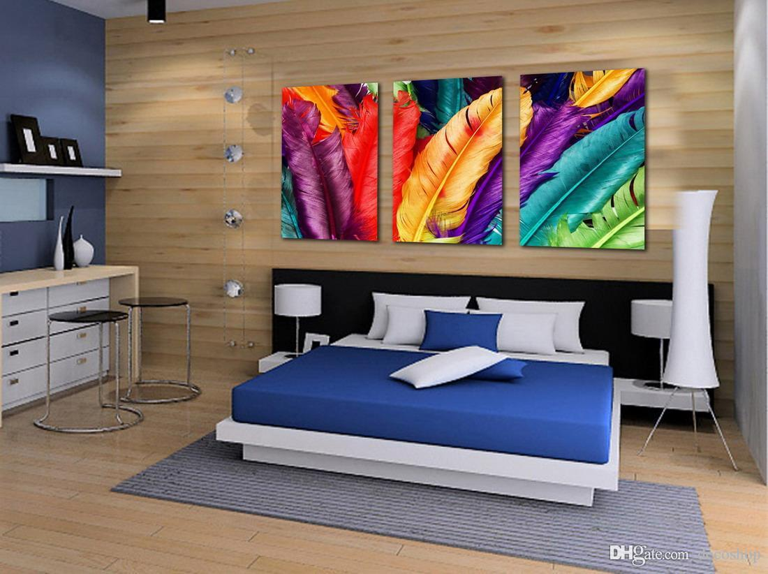 Beautiful Colourful Feather Abstract Painting Giclee Print On Canvas Home Decor Wall Art Set30182