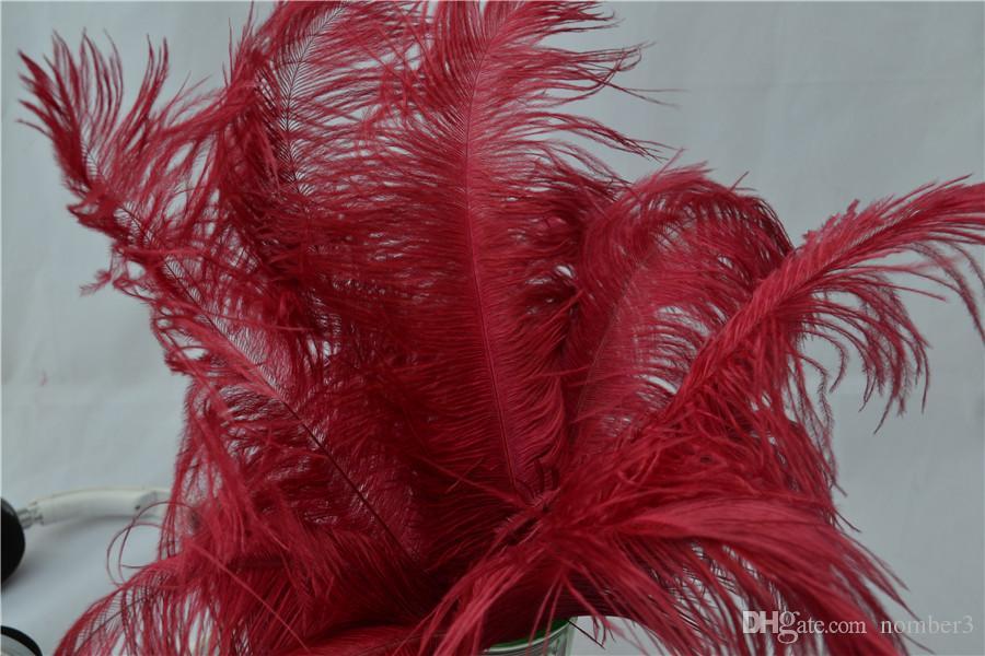 Оптовая 100 шт. Бургундия вино красный страусиное перо шлейфы для свадьбы центральным свадьба decoraction партия событие питания декор