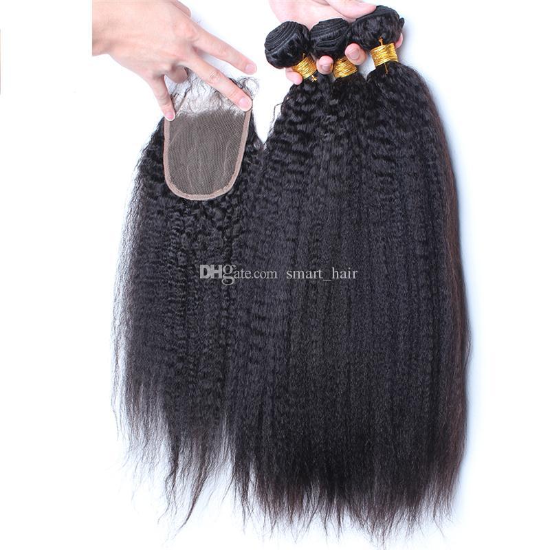 9А Grade монгольской Afro Kinky прямые волосы с Closure 4шт Лот итальянский Грубый Яки Lace Top Closure Pieces 4x4 пачками волос