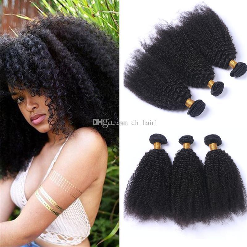 Capelli vergini crespi mongoli non trattati ricci crespi Afro ricci capelli umani fasci di tessuto 3 pezzi lotto estensioni dei capelli mongoli 8A a buon mercato