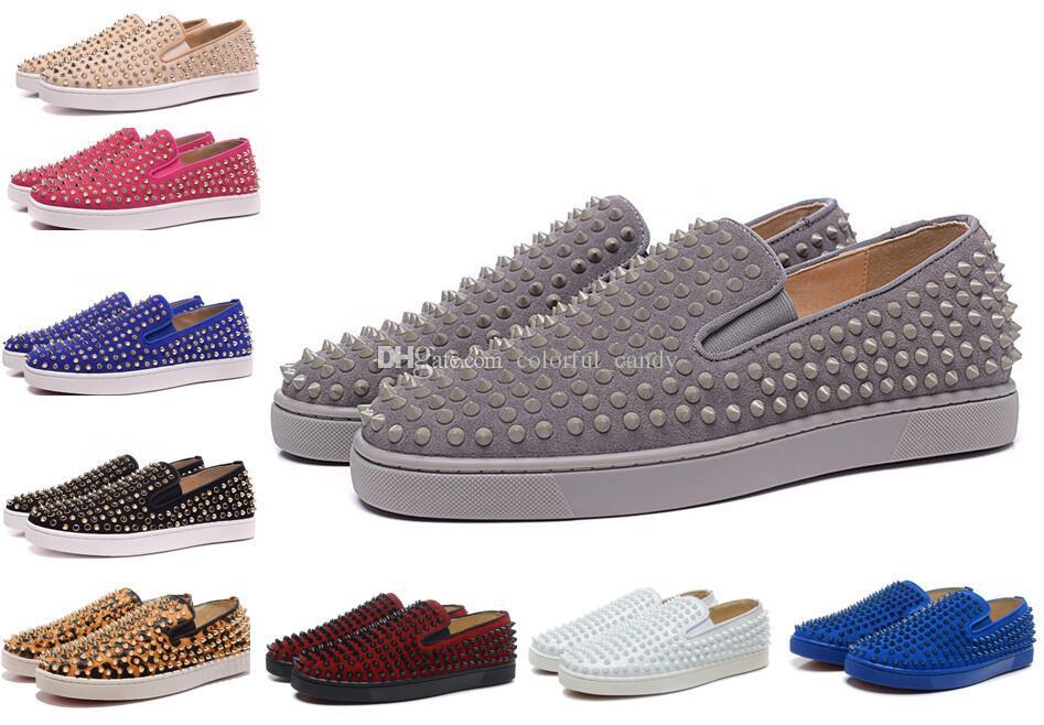 Kırmızı Alt Sneakers Lüks Parti Düğün Ayakkabı Loafer'lar, Rulo Tekne Tasarımcısı Hakiki Deri Süet Ile Spike Çivili Eğitmenler Erkekler Kadınlar Için