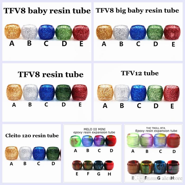 Capsules de remplacement de tube en résine brillante pour le réservoir de verre TFV8 Baby Big Baby Réservoir Cleito 120 MELO 3 III mini Le Troll RTA Drip Tip