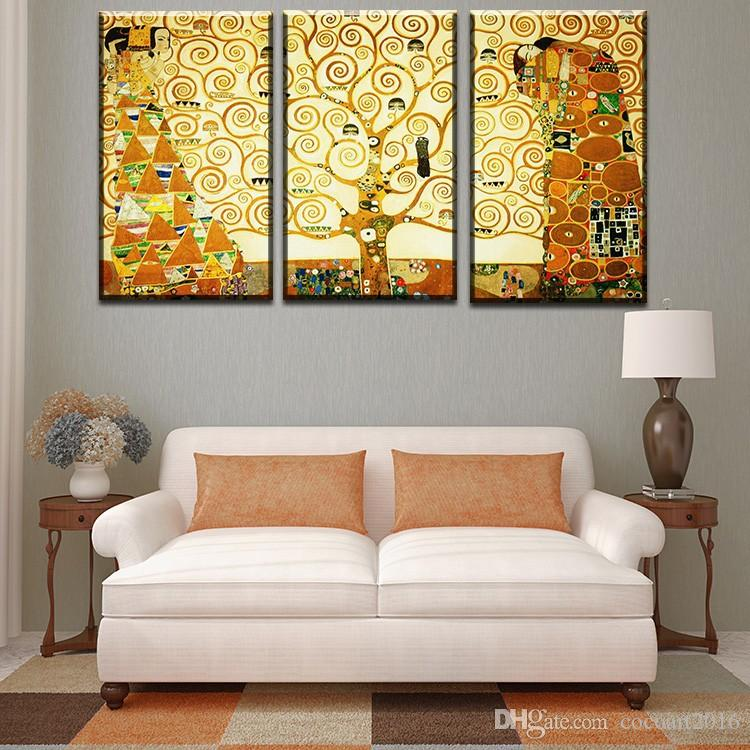 3 pcs Gustav Klimt kiss Home Decor Canvas Wall Art Picture Living Room Canvas Print Modern Painting Large Canvas Art Cheap