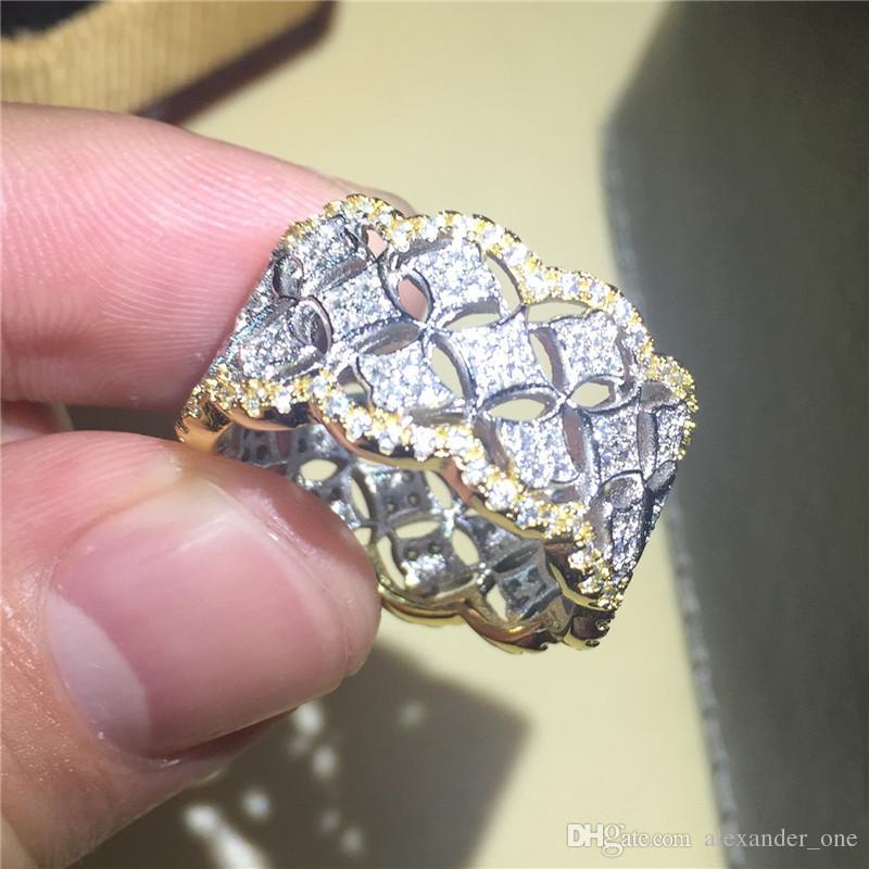 Di lusso della signora della signora 925 dell'argento sterlina riempito d'argento simulato il diamante CZ anelli della pietra preziosa della sovrapposizione dell'anello eterno di cerimonia nuziale per le donne e gli uomini