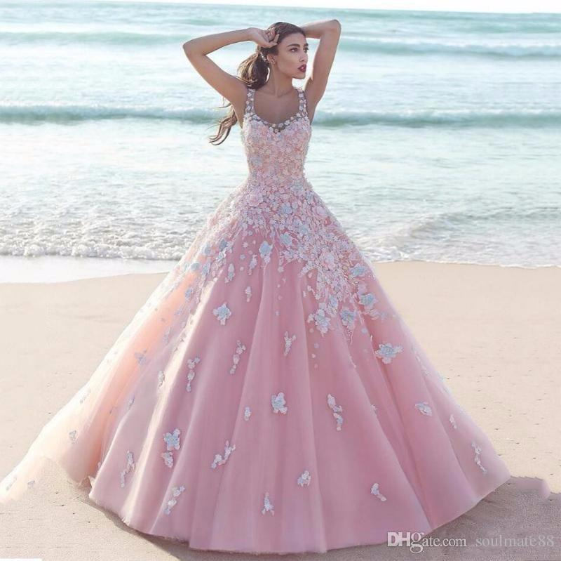 A Line Wedding Dresses Elegant Beautiful Small Piece Flower Lace ...