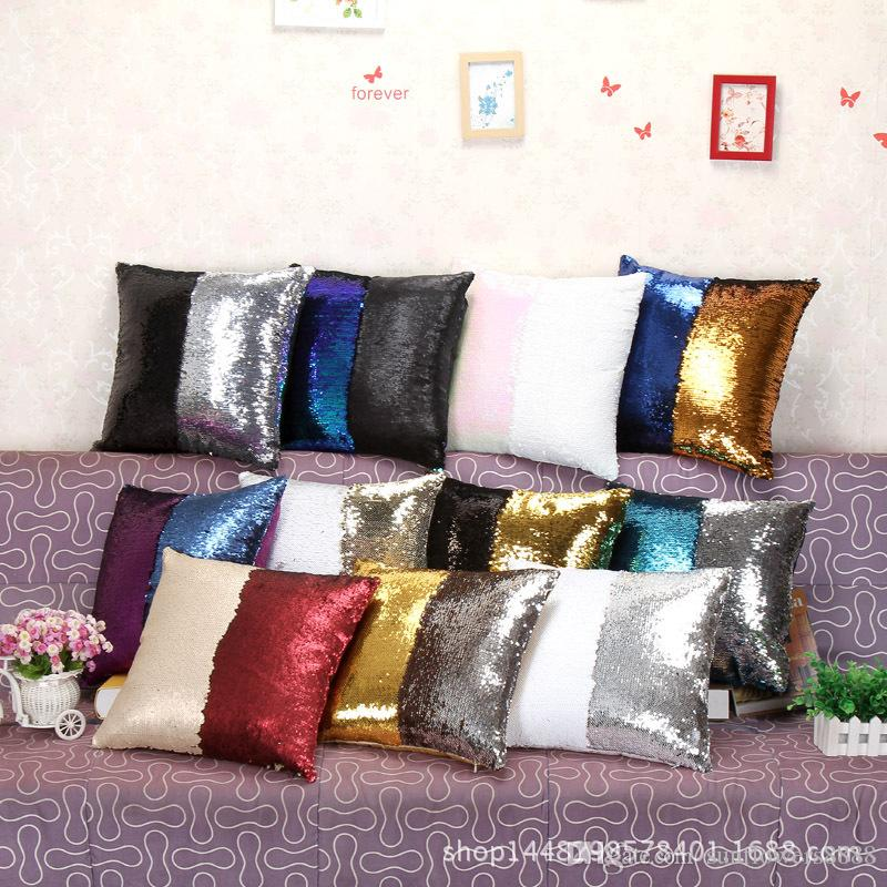 Nuovo hotselling doppio sequin cuscino cuscino accessori di illuminazione copertura cuscino quadrato glamour cuscino per la casa del divano auto arredamento sirena luminoso