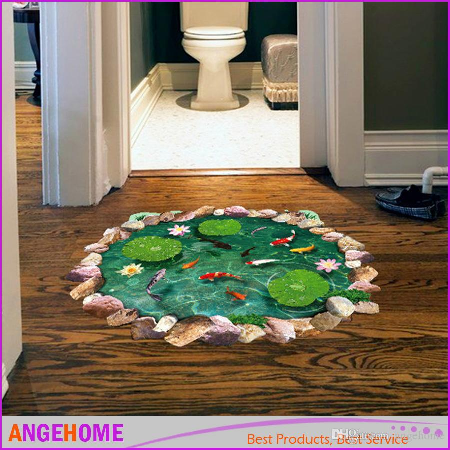 3D Wall Sticker Lotus leaf And Fish Pond Ground Stickers for bedroom, Living Room Floor Decals, Cartoon PVC Wall Sticker Home Decor