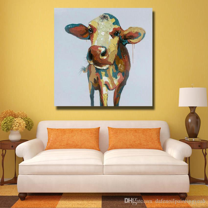 2018 Hand Painted Cow Pictures Modern Canvas Wall Art Home Decor ...