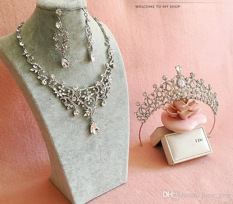 Romantico Shining Beaded Strass Tiara nuziale Collana orecchino Set di gioielli Perle Accessori da sposa Per la festa di nozze LY057
