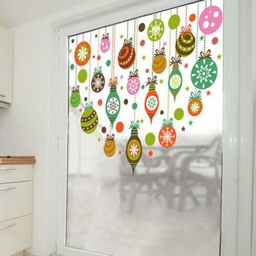 Merry Christmas Duvar Çıkartmaları Renkli Şeffaf Cam Filmi Pencere Sticker Kreş Dekorasyon Çıkartması Çocuk Vinil Sanat Mural Ev Deko ...