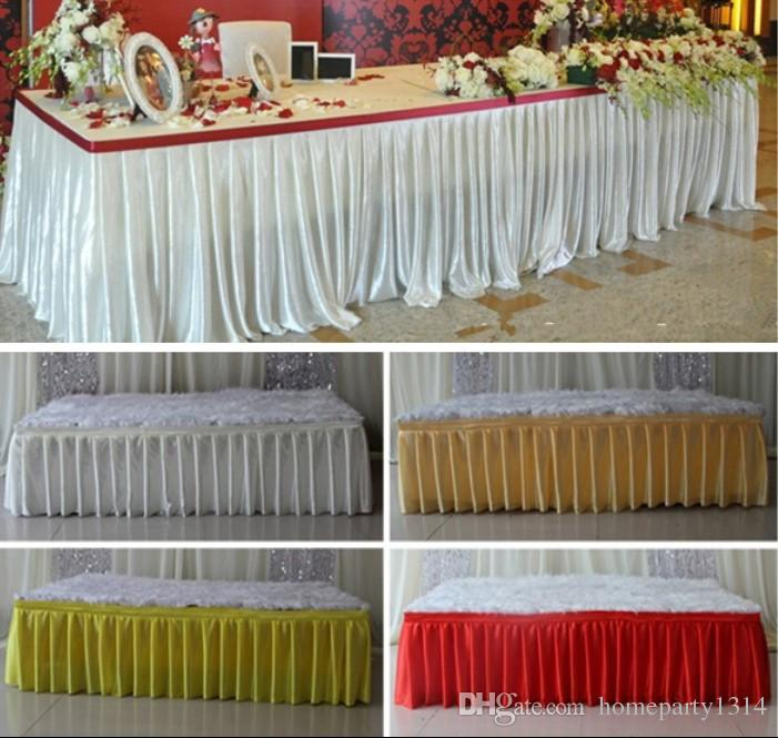 Fashion colorful ice silk table skirts cloth runner table runners decoration wedding pew table covers hotel event long runner decoration