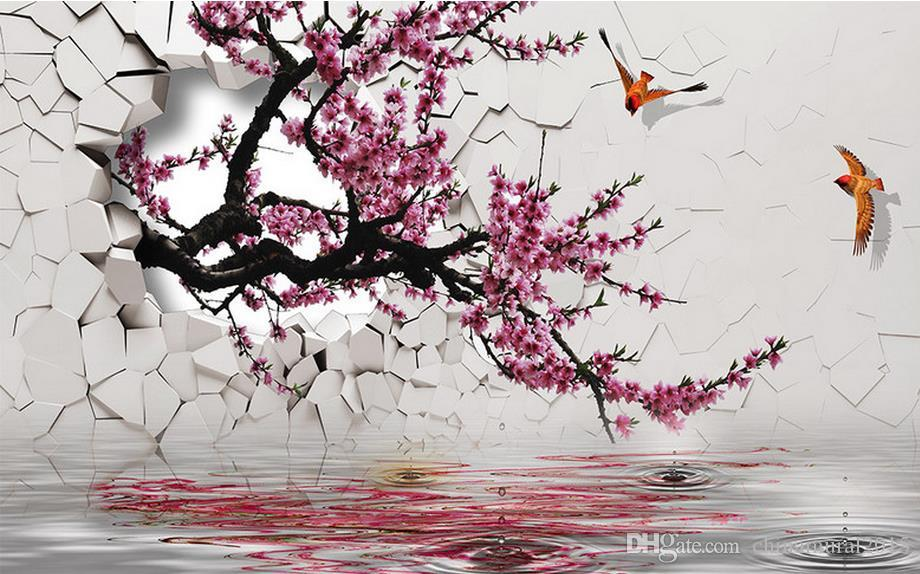 Flor de papel tapiz de pared de albaricoque flores de melocotón y pájaros figura 3D papel tapiz paisaje